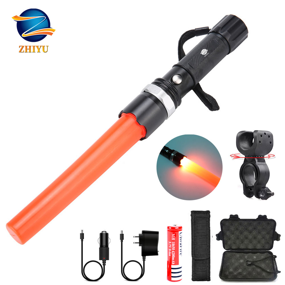 ZHIYU LED Rechargeable Flashlight Rotating Zoom T6 Waterproof Riding Multi-function Torch Rechargeable Emergency Warning Light