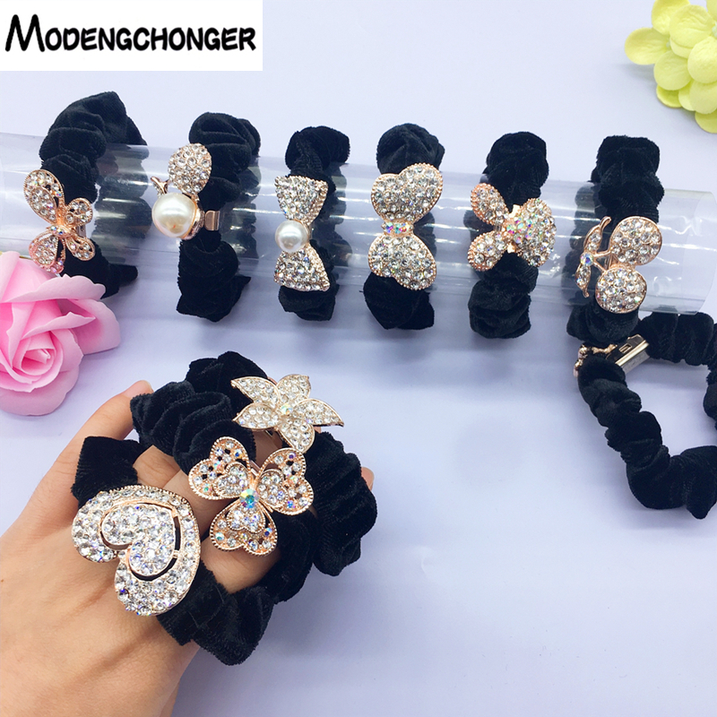 Velvet Scrunchie For Women Girls High Elastic Hair Rubber Bands Gum Alloy Tie Hair Ring Rope Ponytail Holder Hair Accessories