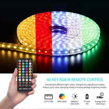 32ft/10M Led Strip Lights Led Lights APP Controlled Music Sync Color Changing Lights with 40 Keys IR Remote Control DC12V 5A - Category 🛒 All Category