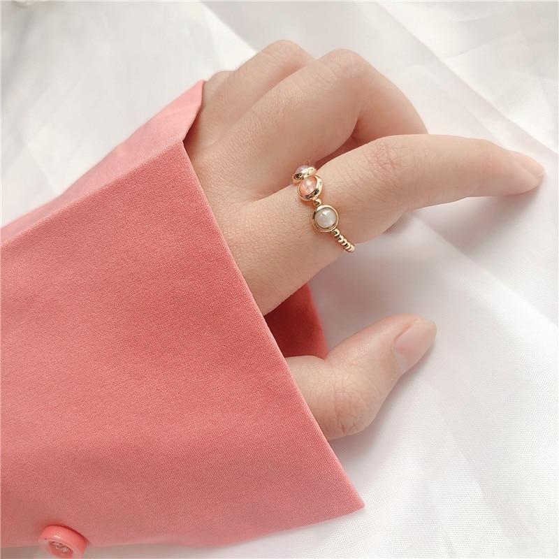 Momiji mode or argent couleur perles anneaux pour femmes à la main en pierre naturelle fête de mariage anneaux extensible cadeau prix de gros