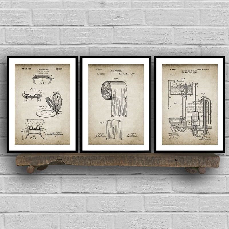 Bathroom Ware Patent Retro Poster Flush Toilet Paper Toilet Lid Patent Vintage Wall Art Canvas Painting Washingroom Decor Pairs