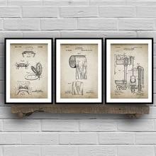 Artículos de baño patente Retro cartel descarga de papel higiénico tapa patente Vintage cuadro sobre lienzo para pared baño decoración pares