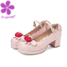 Princess Lolita Girls Mary Janes Shoes Women Sweet Party Dress Cosplay Wedding Pumps Chunky Med Heels Strawberry Plus Size 34-46 doratasia 2018 large size 30 47 candy colors square heels mary janes women shoes woman pumps date girls pumps shoes