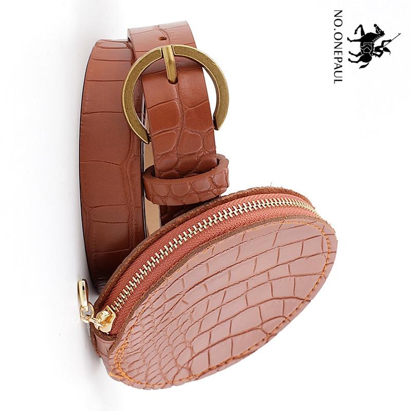 NO.ONEPAUL Deduction Side Gold Buckle Jeans Wild Belts For Women Fashion Women's Belt Bag Circle Pin Buckles Belt Female