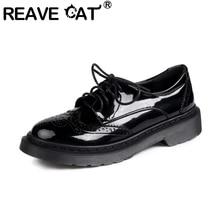 REAVE CAT 2021 Retro Ladies Flats Dress Oxfords Brogue Lace Up Round Toe Classics Polka Dot Chunky Heel Size 34-42 Black A4385