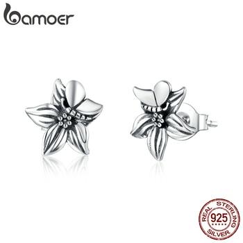 Bamoer 925 Sterling Silver Retro Flower Stud Earrings For Women Butterfly Floral Vintage Style Fine Jewelry Arete SCE887