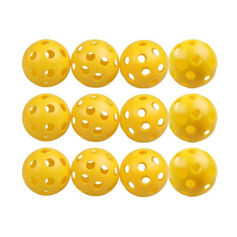 12pcs 26 Bee Holes Plastic Airflow Hollow Golf Ball Practice Training Sports Ball Kids Children Playing Balls Golf Accessories