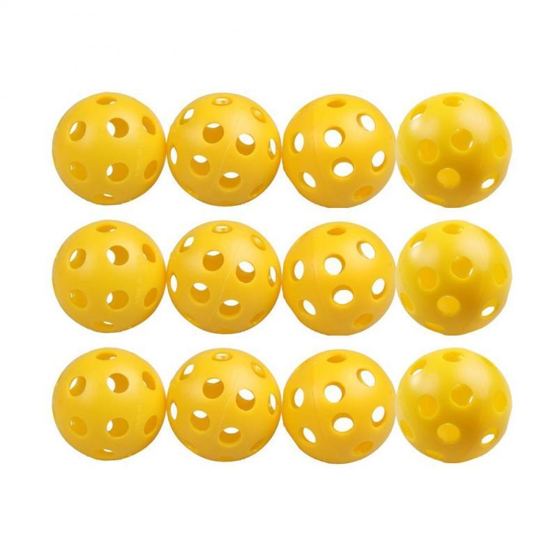12pcs 26 Bee Holes Plastic Airflow Hollow Golf Ball Practice Training Sports Ball Kids Children Playing Balls Golf Accessories
