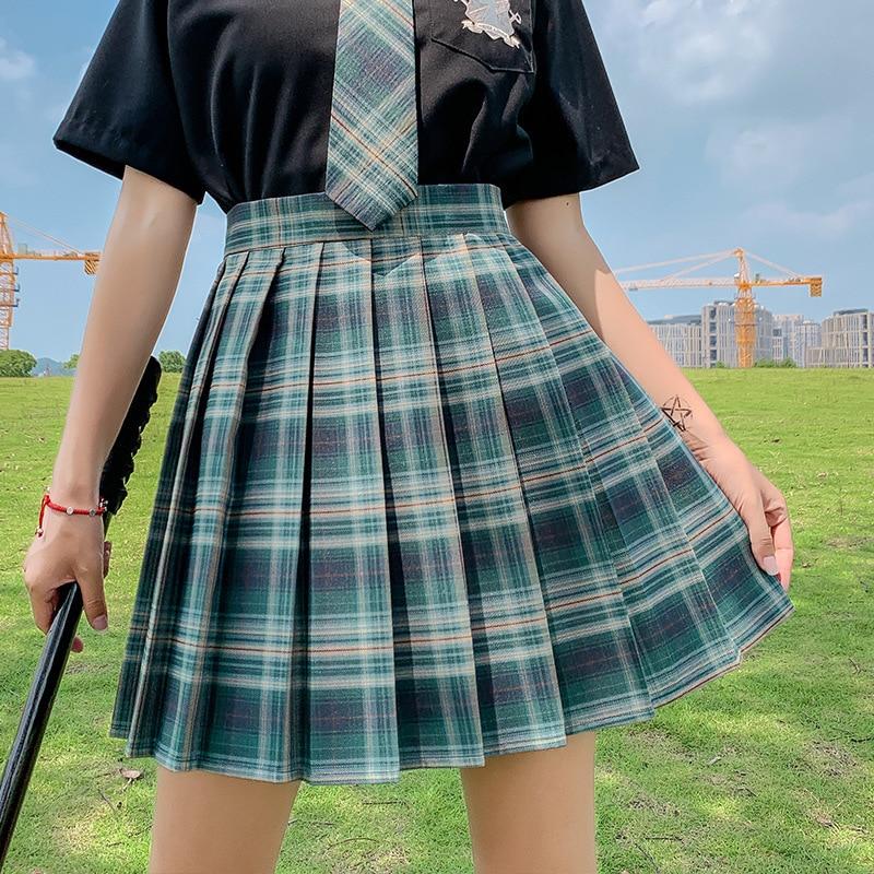 QRWR New Summer Women Skirts 2021 High Waist Girl's Pleated Skirt Korean Japanese Style Ladies Sweet Plaid Mini Skirts for Women