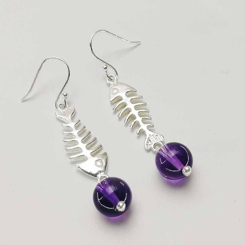 925 Sterling Silver Natural Amethyst Earrings Personality Cute Solid Silver Earrings Fine Jewelry For Women Not Allergic