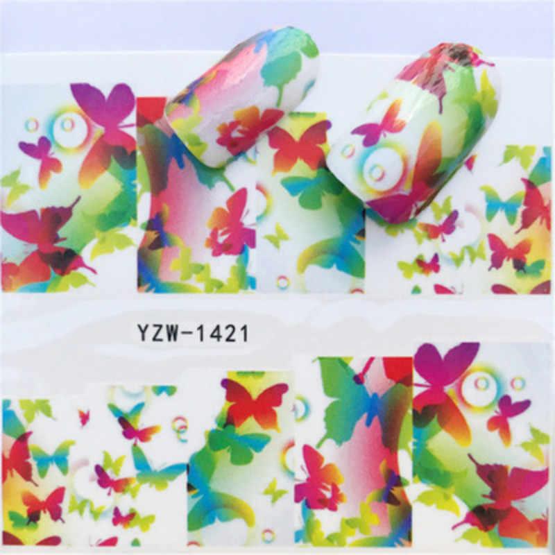 1pcs Cute Lily DIY Nail Art Sticker Set Black Lace Gold Silver Glitter Flower Water Decal Slider Wraps Decor Manicure 10002