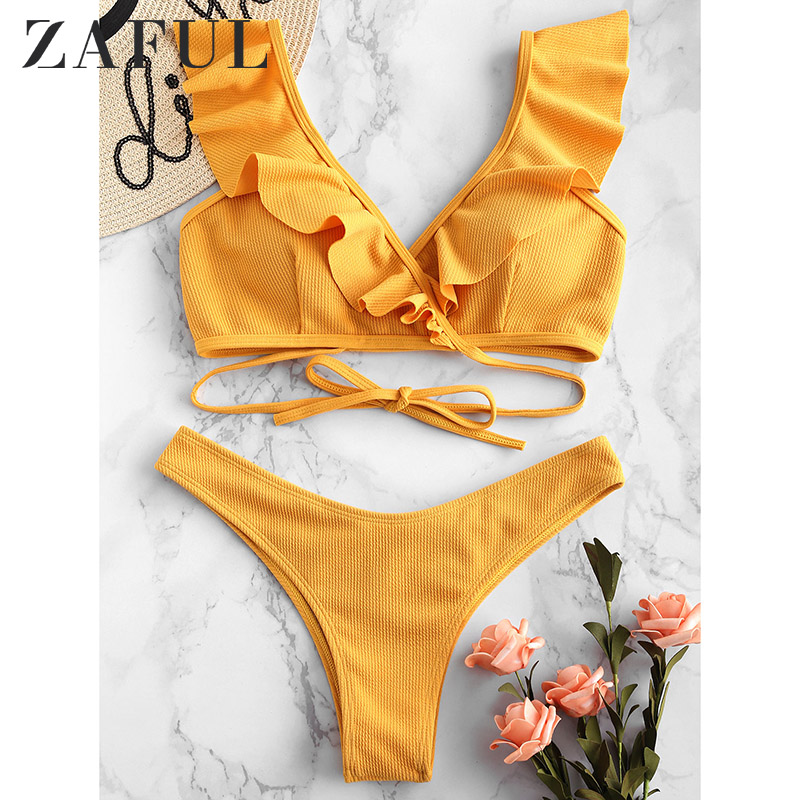 ZAFUL Ribbed Scrunch Butt Wrap Bikini Set Ruffle Plunging Wrap Swimsuit Push Up Low Waisted Women Swimwear Sexy Bathing Suit
