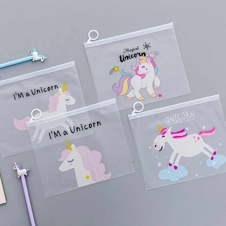 Ellen Brook 1 PCS New Korea School Stationery Lovely Cute Kawaii Creative PVC Envelope To Receive Bag Unicorn Translucent Folder