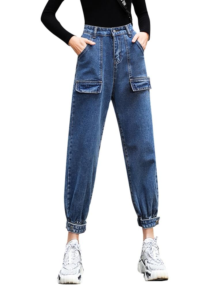 2020 Mujer Pantalones Vaqueros Cargo Moda Alta Cintura Solido Jean Pantalones Ropa Mujer Jeans Mujeres Regular Ol Jeans Pantalones P9315 Pantalones Vaqueros Aliexpress