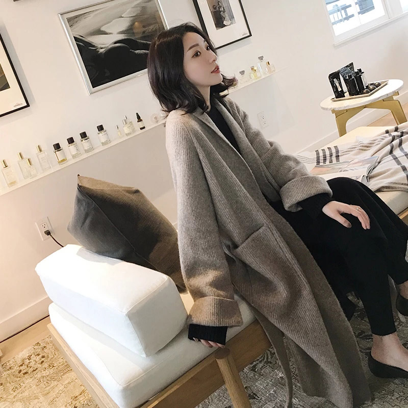 Autumn and Winter Long Knitting Loose   Trench   Coat Women Lazy Style Black Cardigan Temperament Windbreaker Overcoat