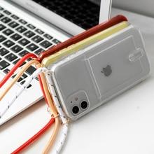 שרוך שרשרת טלפון מקרה עבור iphone 11 פרו xs מקס שקוף רך TPU כרטיס סוג כיסוי עבור X XS XR אנטי סתיו טלפון מקרה