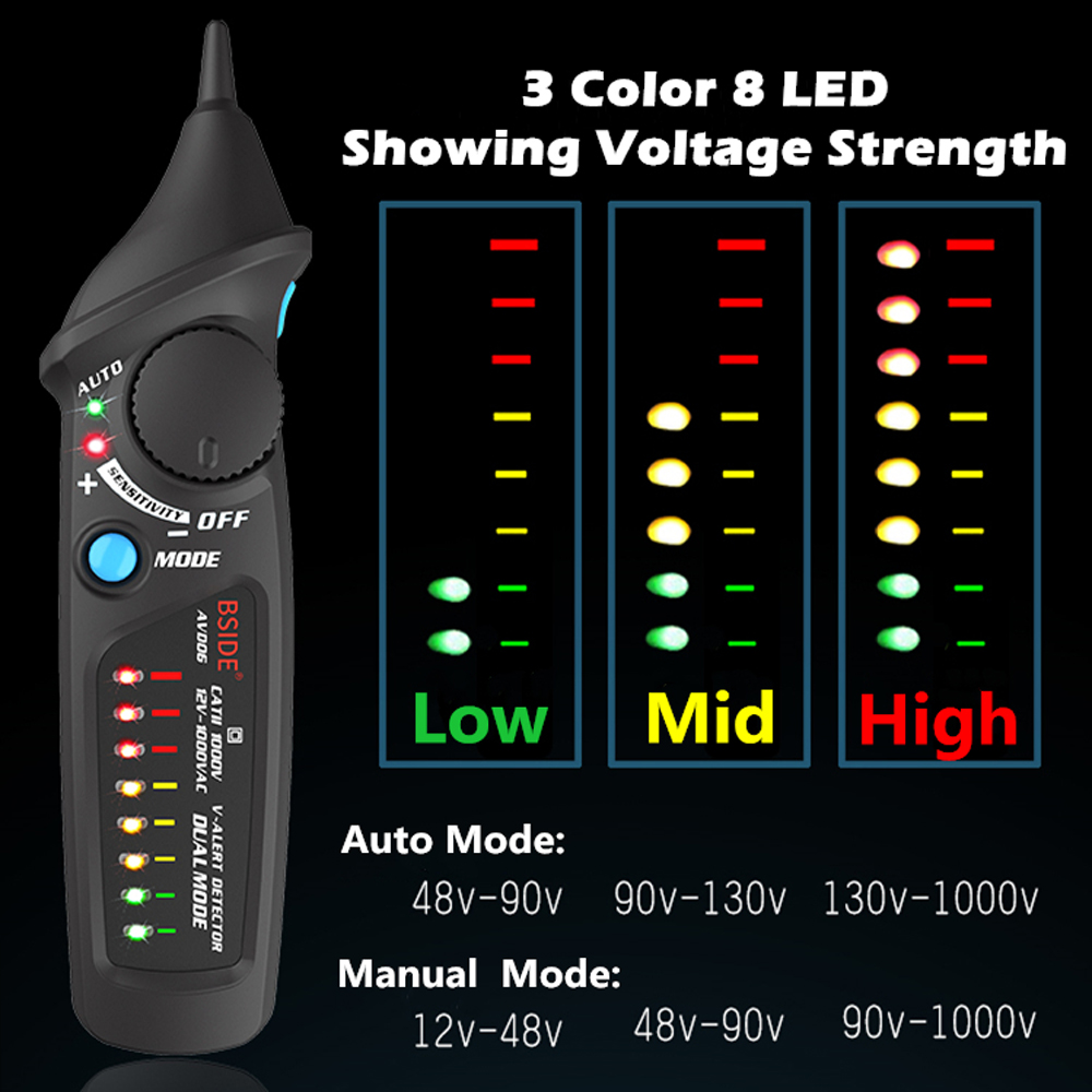 Non Contact AC Voltage Detector in Pen Shape with 8 LED Indicator and Self Test Function 2