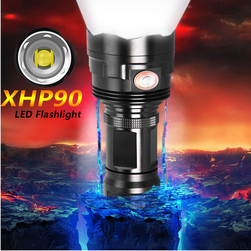 Super Bright XHP90 USB Rechargeable LED Flashlight Powerful Torch Waterproof XHP70 Light Use 18650 Or 26650 Battery