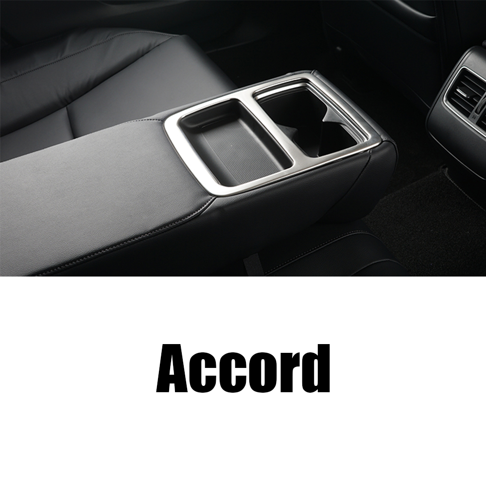 Stainless Steel Sticker Rear Row Seat Water Cup Holder Cover Molding Frame Trims For <font><b>Honda</b></font> <font><b>Accord</b></font> 10th <font><b>2018</b></font> 2019 Car <font><b>Accessories</b></font> image