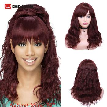 Wignee 99J/4# Human Hair Wig With Free Bangs For Black Women Remy 150% Density Glueless Machine Made Natural Wave - discount item  48% OFF Human Wigs( For Black)