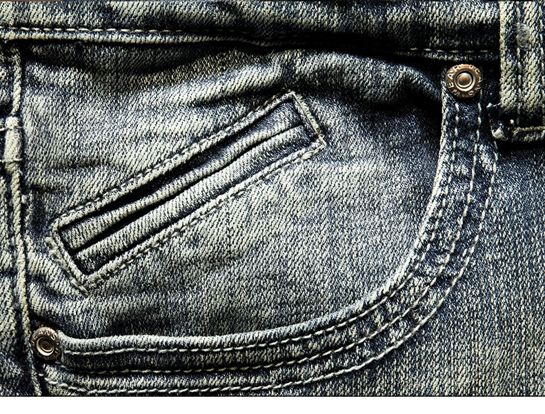 KSTUN American Streetwear Fashion Men Jeans Retro Blue Slim Fit Elastic Ripped Jeans Men Destroyed Denim Pants Printing Hip Hop Jeans 16