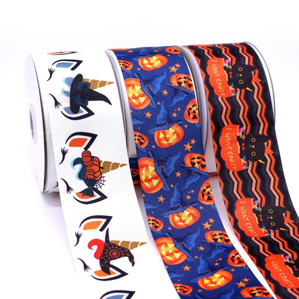 Free Shipping 50 Yard Halloween Printed Grosgrain Ribbon 31190