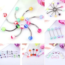 5Pcs/Set Mix Acrylic Stainless Steel Eyebrow Navel Belly Lip Tongue Ring Nose Bar Rings Body Piercing Jewelry Wholesale mix lot wholesales 80pcs stainless steel eyebrow piercing belly button rings naval ear nose rings lip tongue body jewelry gold