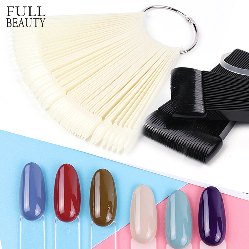 1 Set False Nail Art Tips Color Full Card Round Nature Clear Fake Nail For Gel Polish Manicure Fan Practice Display Tool CHA23