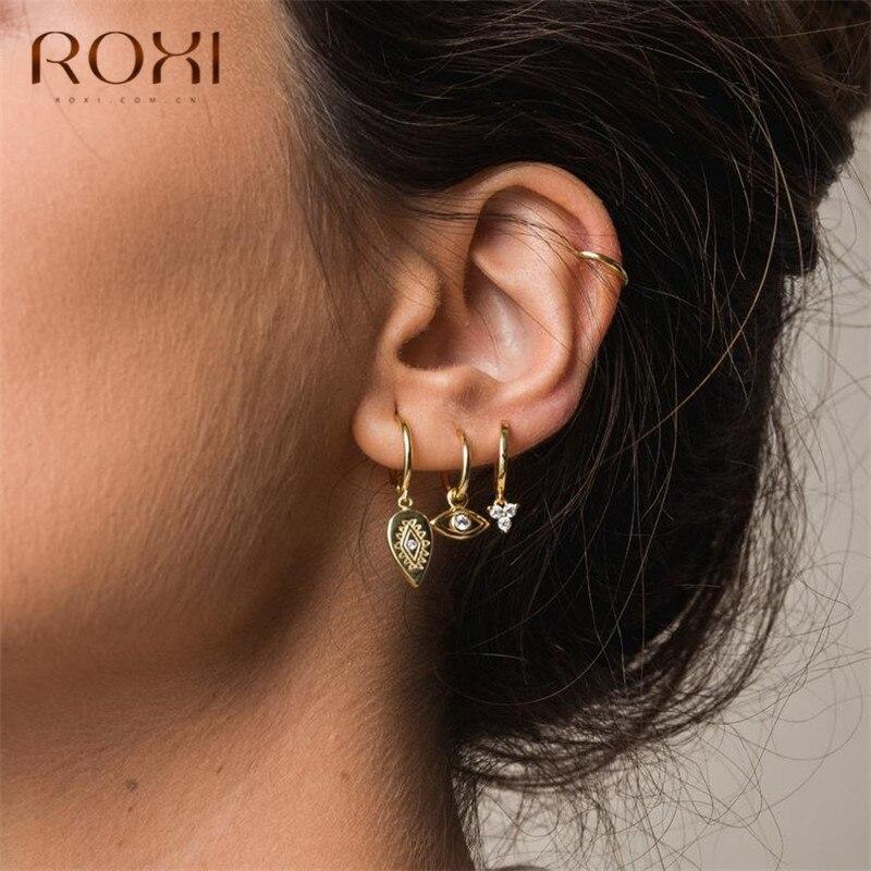 ROXI Fashion Ear Studs Female Punk Style Evil Eyes Round Stud Earrings For Women 925 Sterling Silver Jewelry Boho Leaf Earrings