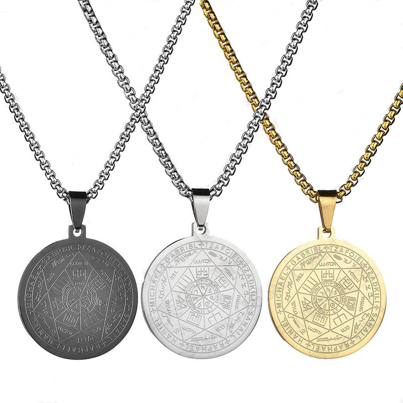 Gold Silver Black Color Men's Necklace Star of David Round Pendant The Seal of The Seven Archangels Necklaces Male Jewelry