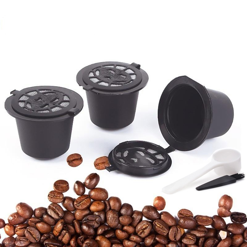 3PCS/Set Refillable Nespresso Coffee Capsule With Plastic Spoon Filter Pod And Brush 20ML Filters Kitchen Dining Bar Reusable