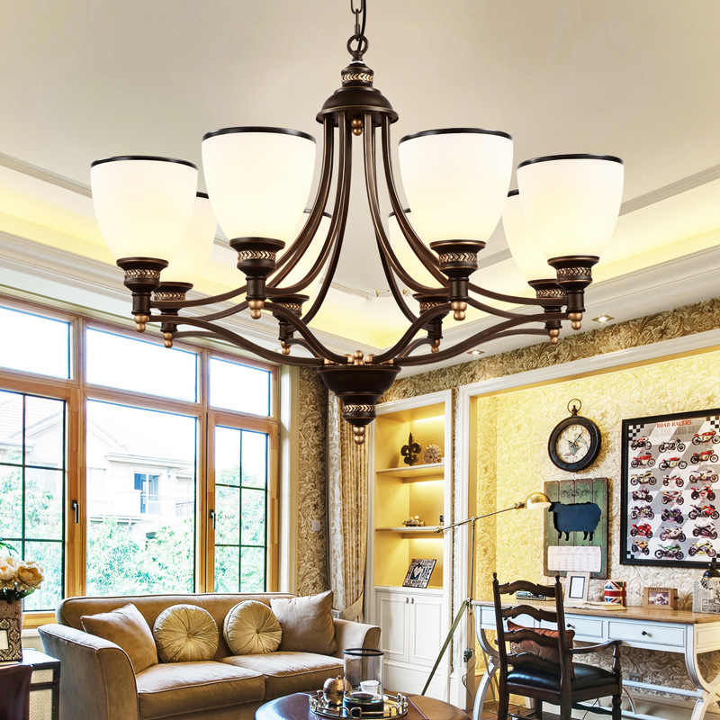 Lámpara de araña americana de cristal de estilo mediterráneo, lámpara de hierro para sala de estar, lámpara de dormitorio y comedor Rural