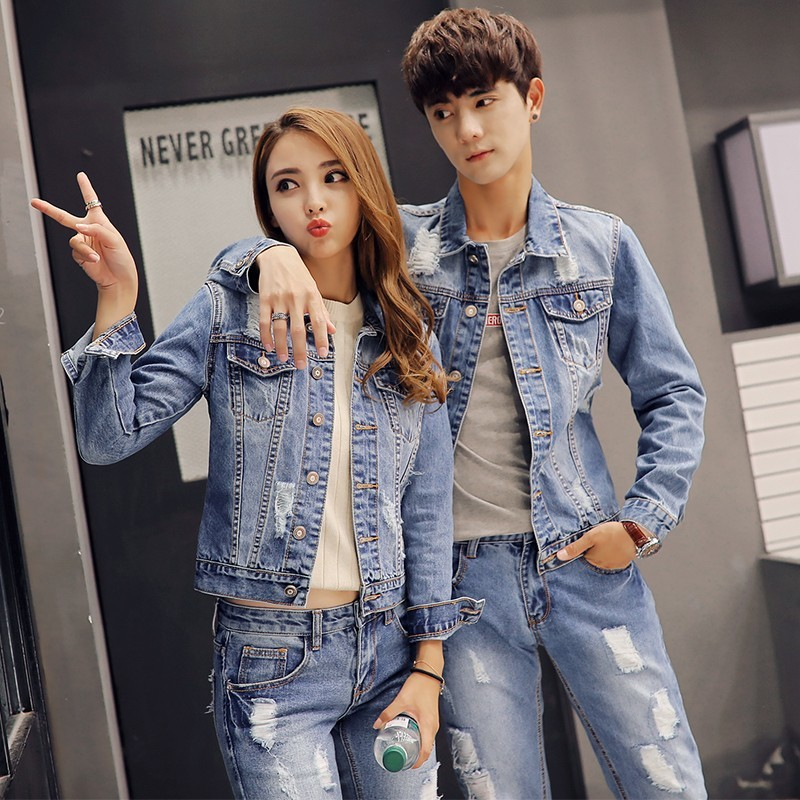Autumn Korean Mens Denim Jacket Two Piece Set Slim Fit Hole Ripped Jeans Sets Casual Unisex Cowboy Outfit Clothing Matching Sets