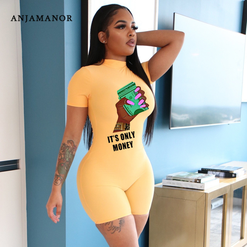 ANJAMANOR Cartoon Letter Print Romper Women Casual Clothes Sexy One Piece Outfits Clubwear Jumpsuit Mono Corto Mujer D89 CH24
