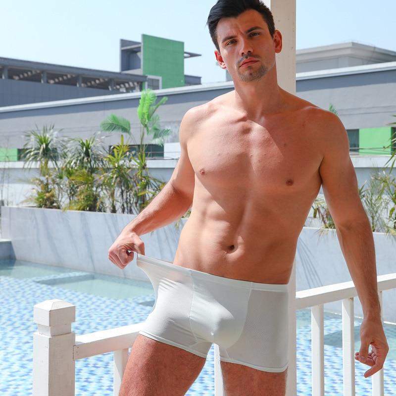 L-3L buz ipek katı renk ultra-ince külot Mens serin yaz beyaz/siyah nefes boksör pantolon moda artı boyutu