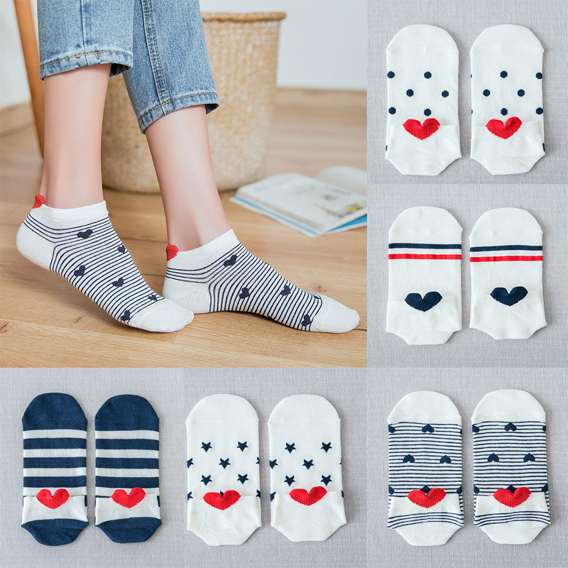Women Girl Cotton Ankle Length Socks Double Stripe Love Heart Print Funny Casual