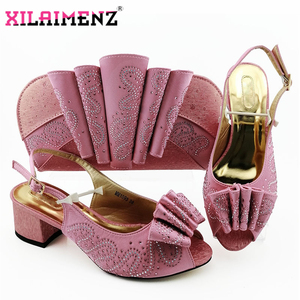 Image 3 - Silver Latest Comfortable Shoes and Bags Set African Sets 2019 Italian Shoes and Matching Bags Women Rhinestone Wedding Shoe