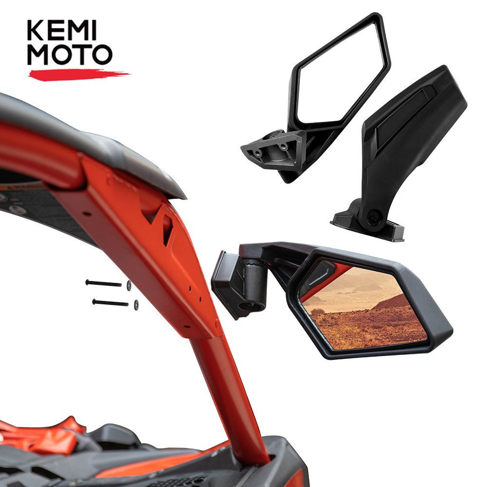 Left & Right UTV Side View Mirrors Rearview Mirror Adjustable For Can Am Maverick X3  For Suzuki King Quad 2017 2018 2019