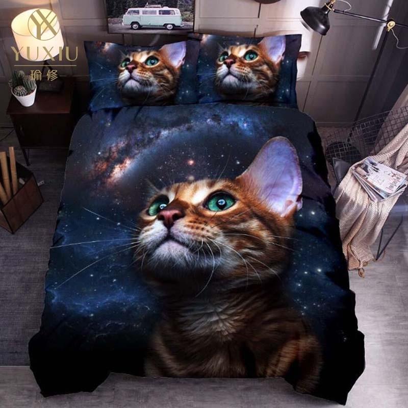 YuXiu Classic 3D Duvet Cover Sets Bed Linen Cat Dogs Animal Black Linens Quilt Covers Bedding Set 3Pcs Twin Full Queen King