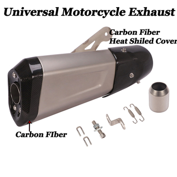universal 51mm 61mm motorcycle exhaust muffler pipe escape exhaust carbon fiber for yamaha mt10 t max 500 bws 125 dt 125 mt 125 51mm Universal Motorcycle Exhaust Muffler Carbon Fiber Pipe Escape Moto Heat Shiled Cover DB Killer For S1000R Z900 S1000XR CB