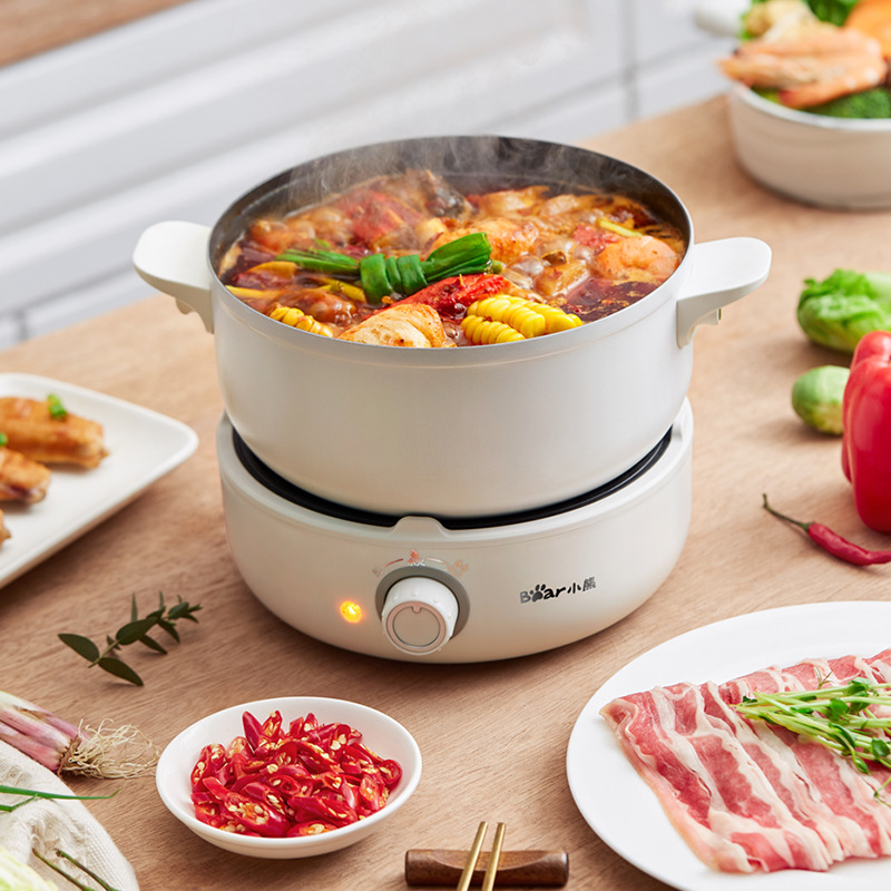 220V Electric Hot Pot  Multifunction  Rice Cooker Portable Split Type Pot Kitchen Cooker Non-stick Frying Pan For Travel Kitchen