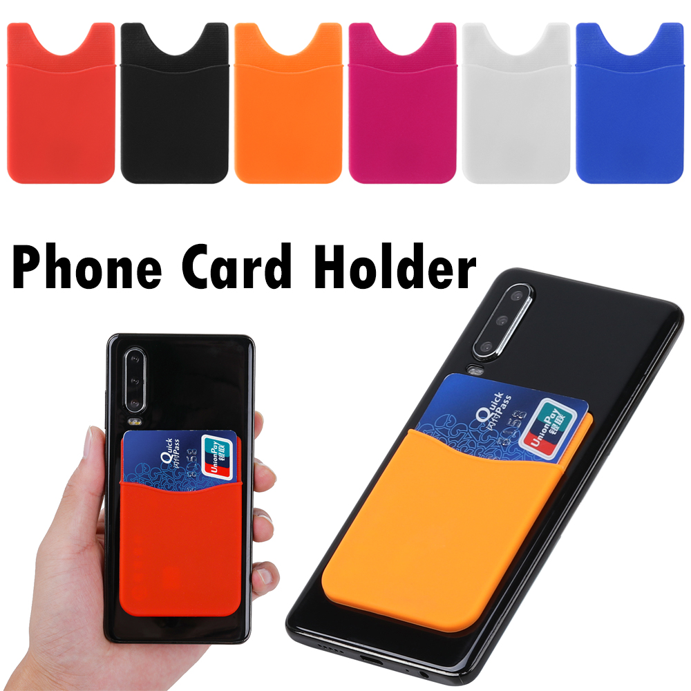 1Pcs 2019 Unisex Silicone Elastic Stick Adhesive Card Pocket Mobile Phone Back Card Holder Wallet Case Universal Cash ID Soft