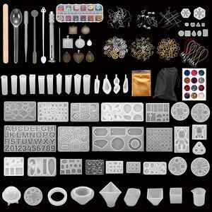 Conjuntos de moldes de fundição de silicone jóias estilo misto uv resina cola epoxy ferramentas moldes para diy jóias que fazem kits acessórios suprimentos