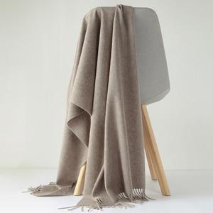 Image 3 - Luna&Dolphin Desinger Brand Women Pure Wool Scarf Solid Color Winter Ladies Pashmina Tassel Big Shawl Wrap Thicken Blanket Scarf