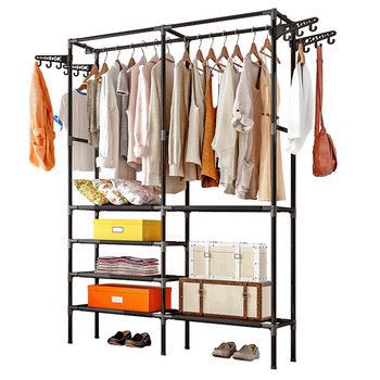 Clothes Hanger Coat Rack Floor Storage Wardrobe Clothing Drying Racks Porte Manteau Kledingrek Perchero De Pie - discount item  26% OFF Home Furniture