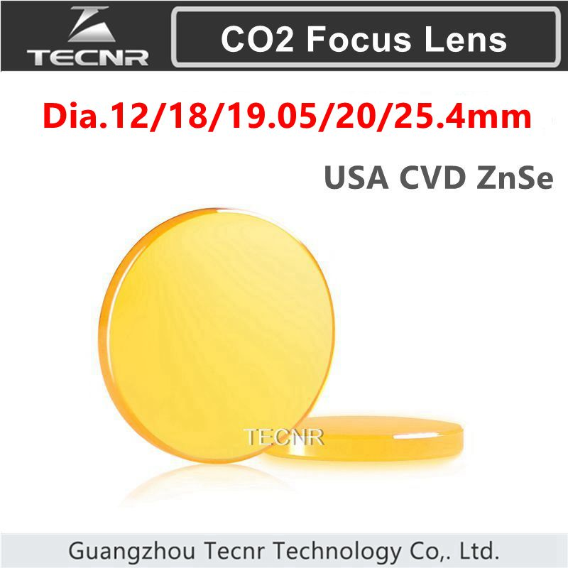 "USA ZnSe Focus Lens Dia. 12 - 25,4 mm FL 50,8 63,5 101,6 127 mm 1,5 - 5 ""per taglierina per incisione laser CO2"