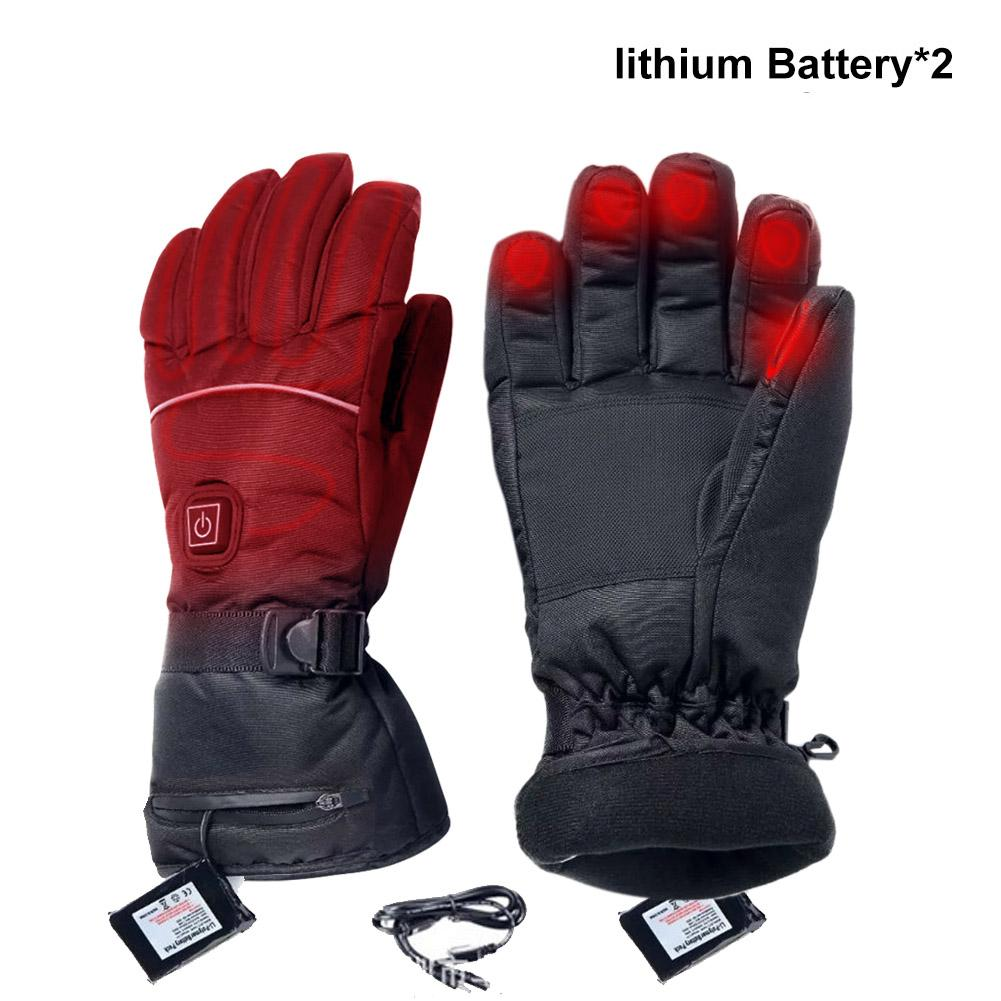 Winter Thermal Gloves Waterproof Electric Heated Gloves 3200 MAh Battery Powered For Ski Climbing Heating Gloves