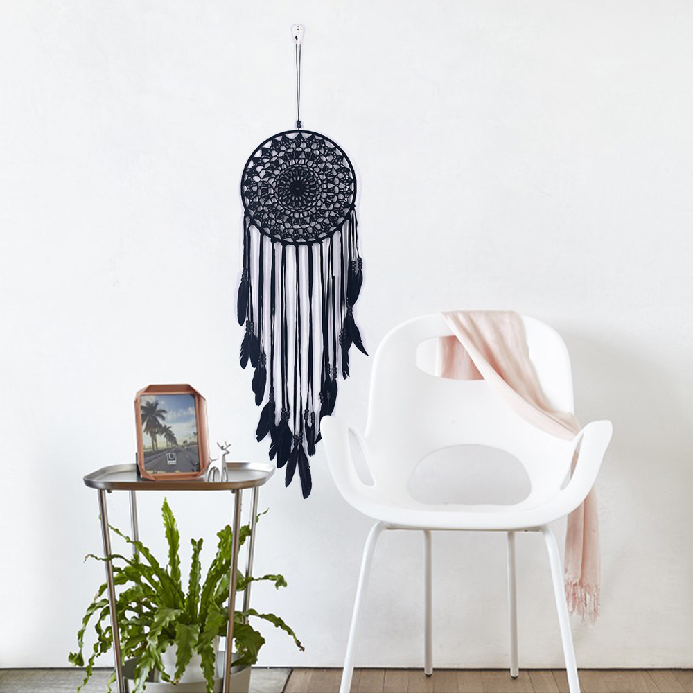White/Black Feather Dream Catcher Home Decor Wind Chime 20x80cm Nordic Dreamcatcher Wall Hanging Ornament Decorative Kit Wedding