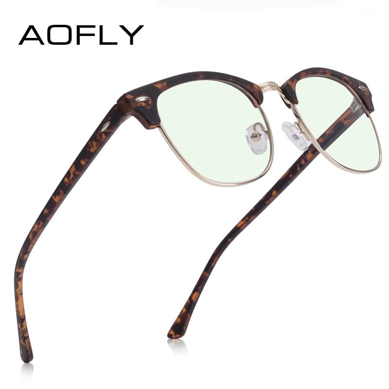AOFLY Brand Design Vintage Men Glasses Computer Square Anti Blue Light Filter Glasses Women 2020 Optical Spectacle Frame UV400