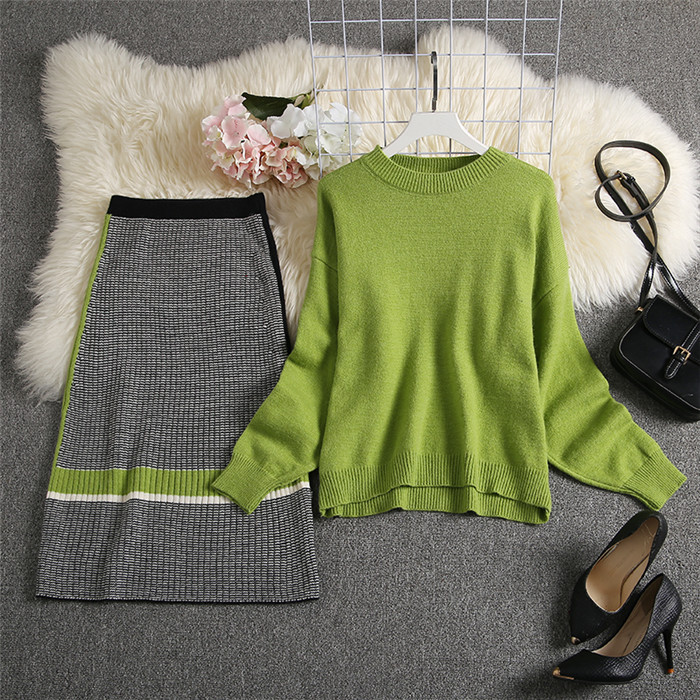 ALPHALMODA 2019 Autumn New Arrived Women Knitting Sweater Skirt Suits Bright Color Youthful Winter Knitting Outfit 2pcs Set 98